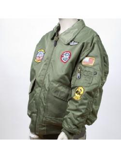Bomber niños CWU piloto USA, con parches. Verde