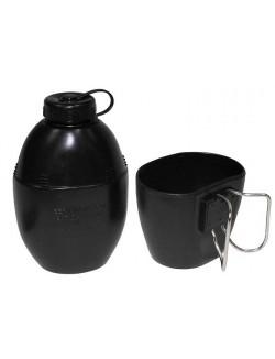 Cantimplora británica, negra, con taza