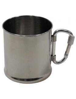 Taza de acero inoxidable con mosqueton, 220 ml