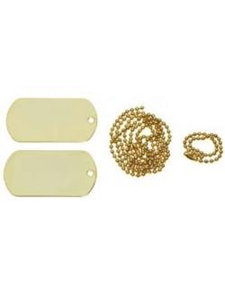 Chapas de identificación con cadena, doradas