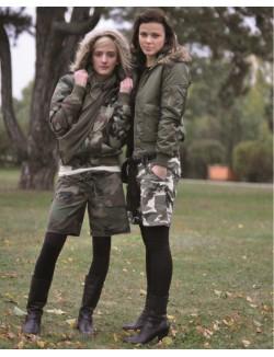 Shorts para chica, camuflaje Woodland