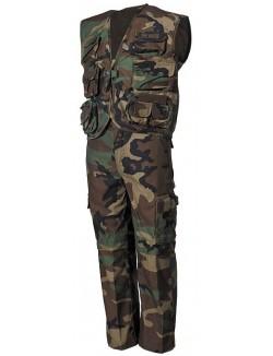 Conjunto camuflaje woodland niños, chaleco y pantalón