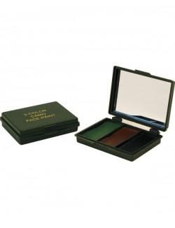 Pintura facial 3 colores, negro, marrón y verde, con espejo.