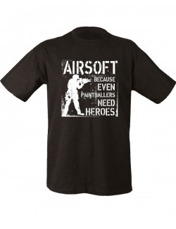 Camiseta airsoft negra 100% algodón