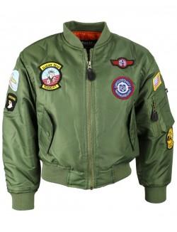 Bomber MA1 piloto para niños, verde.