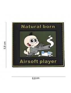 Parche 3D PVC Natural born, airsoft player